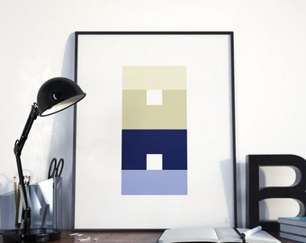Geometric wall art Complementary colors Squares print Josef Albers Abstract poster Optical art Pastel colors Yellow blue Modern wall art