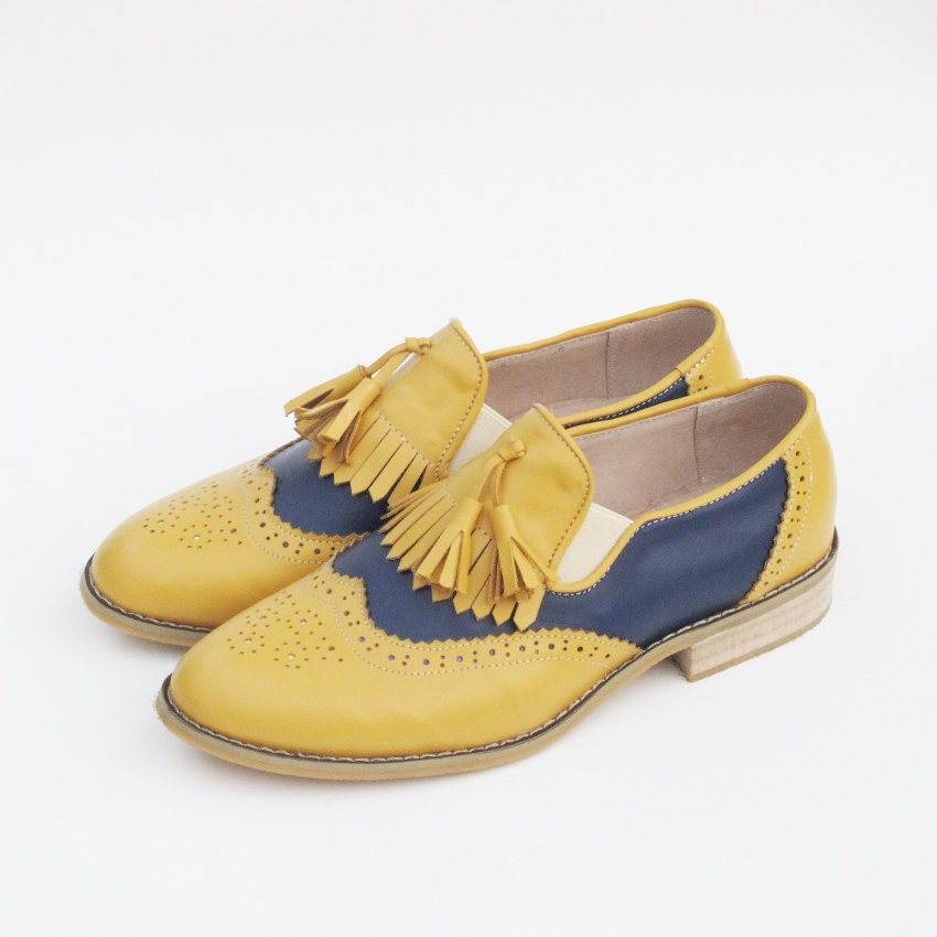 Leather Handmade Black Yellow Tassel Oxford Brogue Vintage Loafers Wedding Gifts Shoes Derby Loafers Vintage 059558