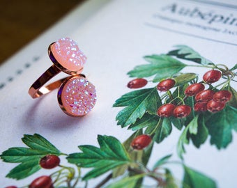Strawberry Ring - Ring type gold Rose and quartz resin