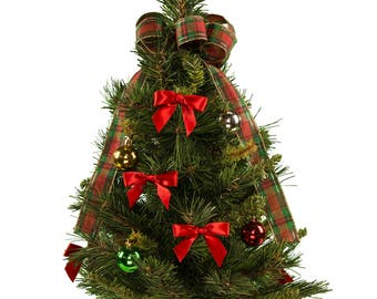 Artificial Decorated Christmas Tree with Plaid Bow - Cemetery Christmas Tree - Small Christmas Tree (TR1942)