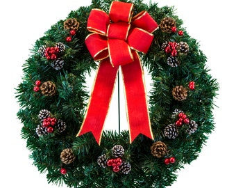 christmas wreath with frosted pine cones and berries christmas cemetery wreath wr2260