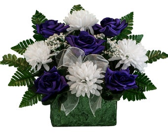 Cemetery flowers etsy purple rose and white mum monument brick flower arrangement cemetery flowers silk flower arrangement br2207 mightylinksfo