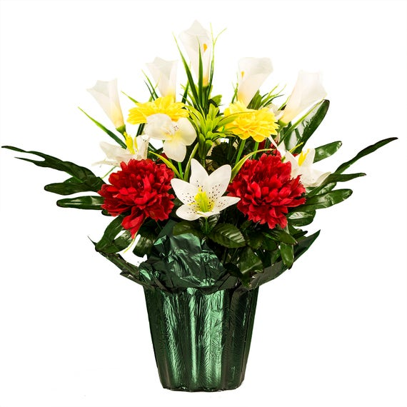 Red Yellow White Potted Silk Flower Arrangement For Cemetery Etsy