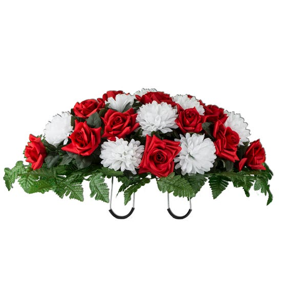 Red and white cemetery saddle cemetery flowers silk flower etsy image 0 mightylinksfo