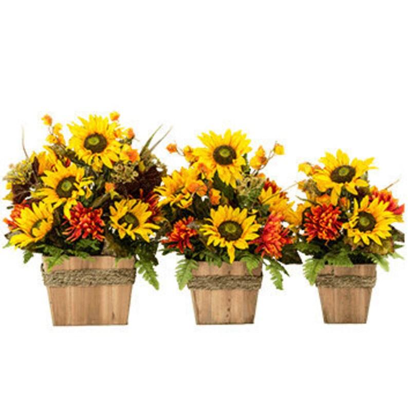 Sunflower Home Decor Set Of 3 Rustic Arrangement