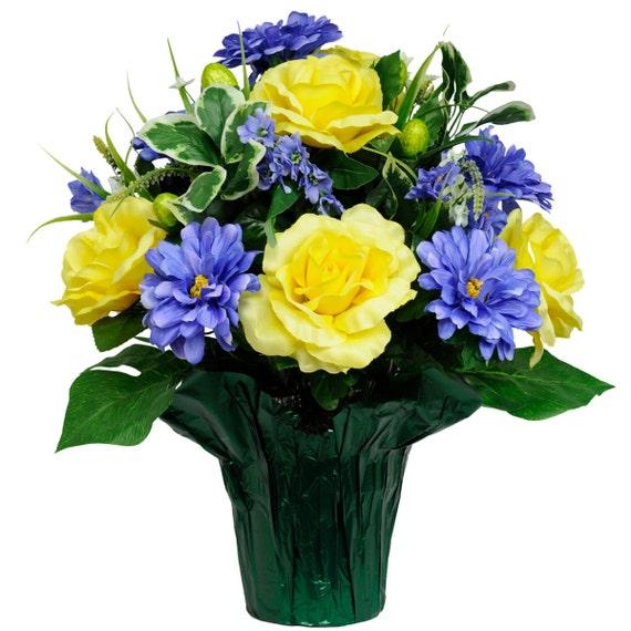 Yellow rose blue dahlia mix potted flower arrangement pt1535 etsy image 0 mightylinksfo