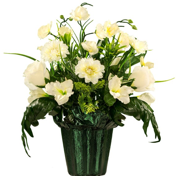 White Roses And Orchid Potted Silk Flower Arrangement Etsy
