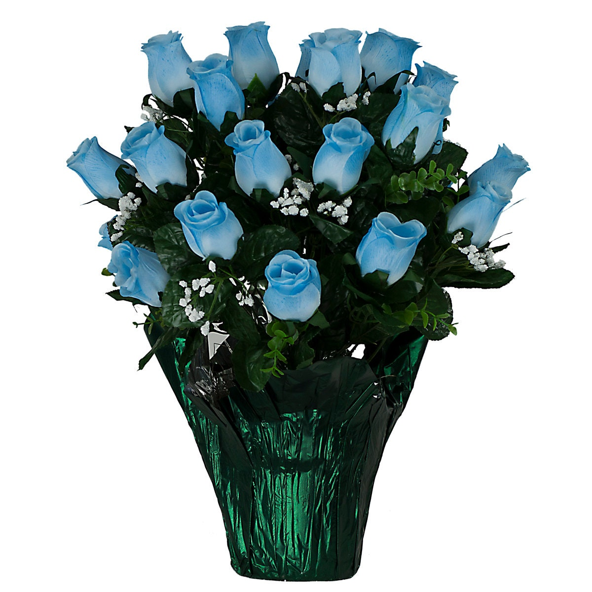 Blue Roses With Babys Breath Potted Silk Flower Arrangement Etsy