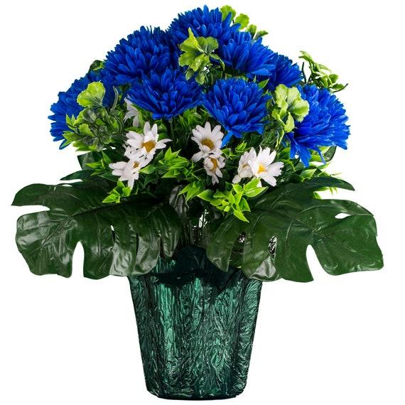 Winter Blue Cemetery Flowers Blue Garden Mum Silk Flower Etsy