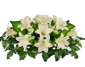 White Easter Lily Silk Flower Arrangement - Cemetery Saddle Flowers - Cemetery Flowers - Easter Flowers