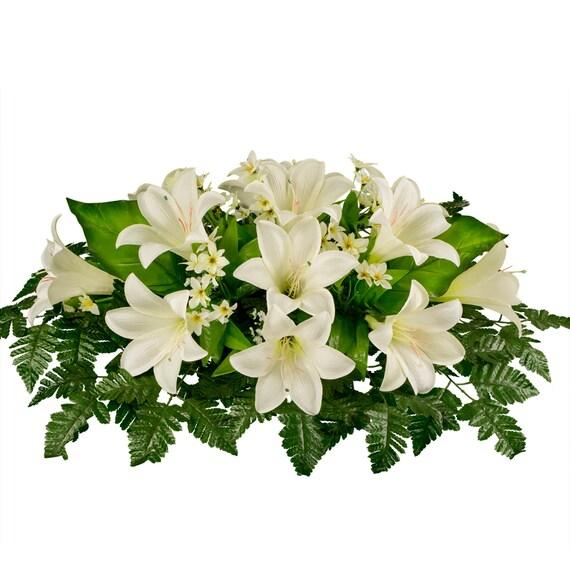 White easter lily silk flower arrangement cemetery saddle mightylinksfo