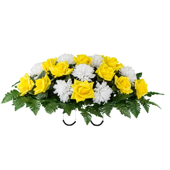Summer Cemetery Saddle Yellow Diamond Roses With White Mums Etsy