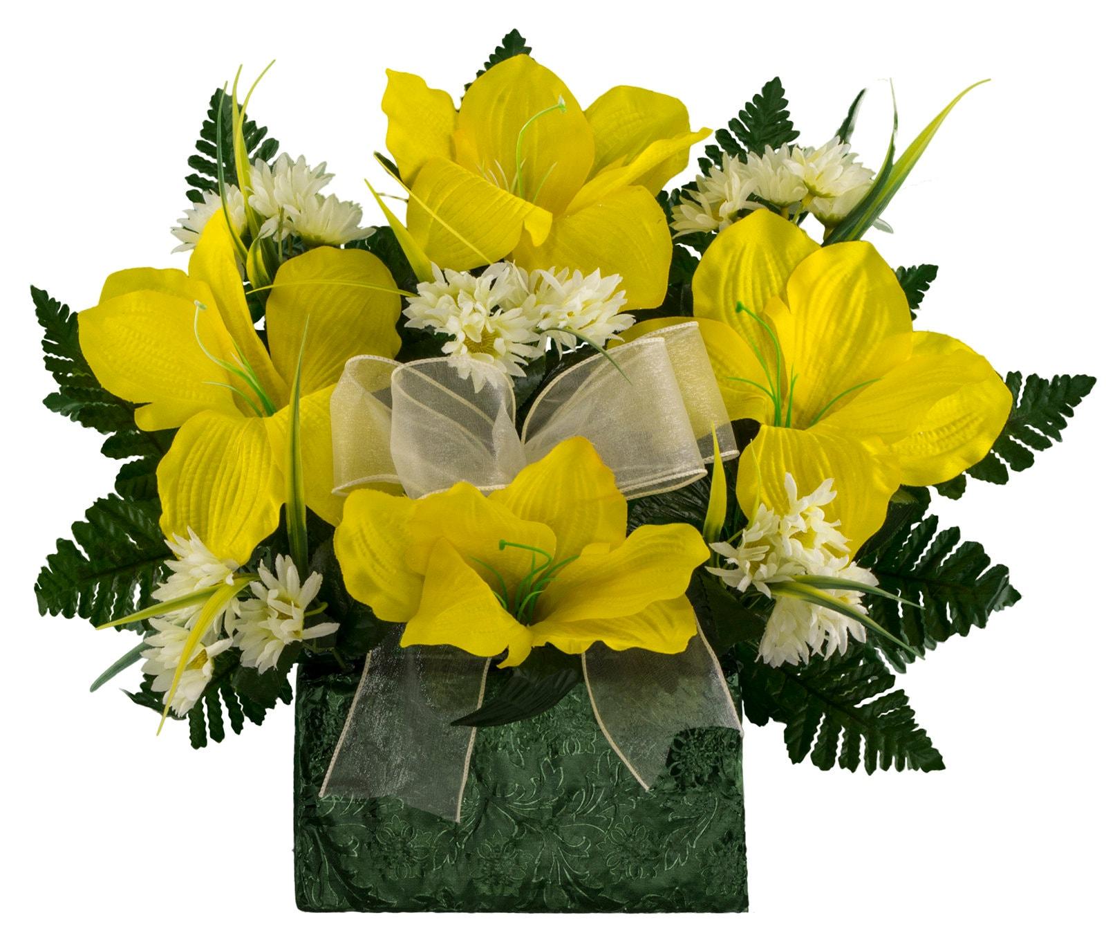 Yellow Amaryllis And White Daisy Monument Brick Flower Etsy