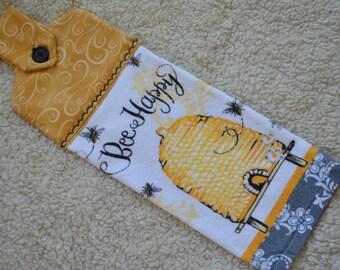 Bee Hanging Kitchen Towel, Hanging Kitchen Towel, Hanging Towel for Oven Door, Kitchen Hand Towel With Button Closure, Yellow & White Towel