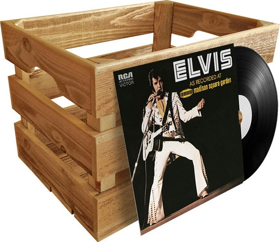 Vinyl Record Wood Crate Album Storage Etsy