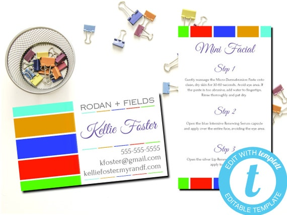Rodan and Fields Editable Business/Mini Facial Cards / Rodan + Fields / Edit Yourself / INSTANT DOWNLOAD / Editable Template