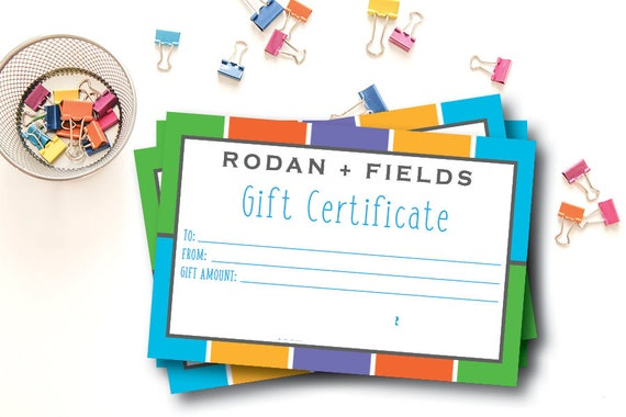 Rodan and Fields Gift Certificate / Instant Download / Rodan and Fields / RF / Print From Home / Non-Editable