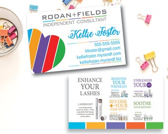 Rodan and Fields Business Card / Printed / Rodan + Fields Busines Card / RF / Heart / Lashboost Regimens Description