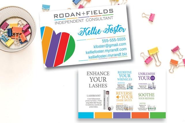 Rodan and Fields Business Card / Printed / Rodan + Fields Busines Card / RF / Heart / Lashboost Regimens Description