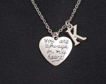 0256f2c593 You Are Always in My Heart necklace, initial necklace,Best Friend necklace, heart charm,boyfriend girlfriend necklace