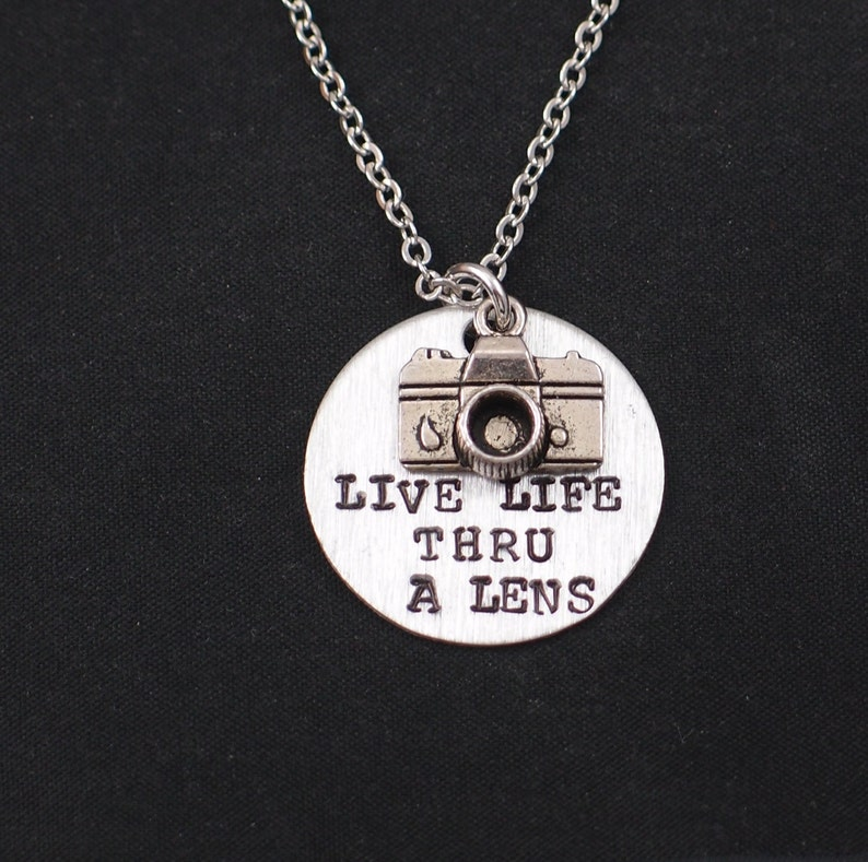 hand stamped necklace with camera charm photographer camera quotes camera charm Live Life Thru A Lens necklace