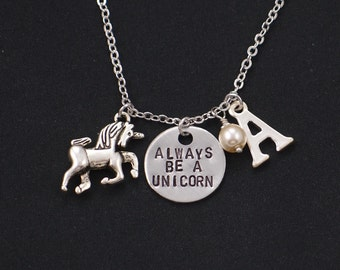 Always Be A Unicorn necklace, sterling silver filled, silver unicorn necklace with initial and pearl, hand stamped necklace, bff, birthday