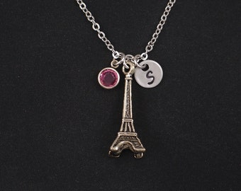 Eiffel tower necklace, sterling silver filled, initial necklace, birthstone necklace, Eiffel tower paris, travel to Paris, Eiffel lover gift