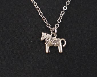 tiny pony necklace, sterling silver filled, silver horse charm, circus pony necklace, equestrian jewelry, little girl gift, birthday gift