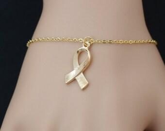 awareness ribbon bracelet, gold filled, gold hope symbol charm, esophageal cancer, stomach cancer, eating disorders, adjustable bracelet