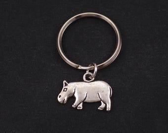 hippo keychain, sterling silver filled, silver hippo charm, small hippopotamus charm pendant , animal jewelry, kids keychain, gift for him