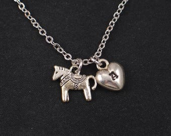 tiny pony necklace, sterling silver filled, initial necklace, silver horse charm, circus pony necklace,little girl gift,birthday,christmas