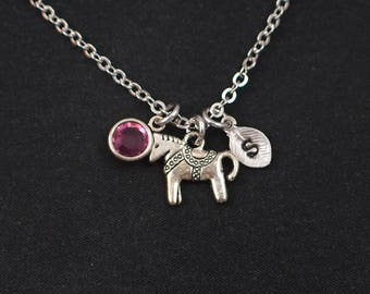 tiny pony necklace, sterling silver filled, initial necklace, birthstone necklace, silver horse charm, circus pony necklace, disney,for girl