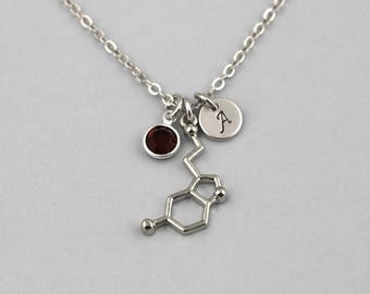 serotonin necklace, sterling silver filled, initial necklace, OPTIONAL birthstone or pearl, serotonin molecule jewelry, chemical structure