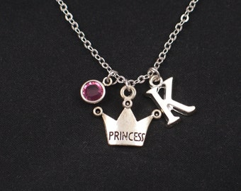 princess crown necklace, sterling silver filled, initial necklace, birthstone necklace, silver crown charm, monarchy, royal,princess jewelry