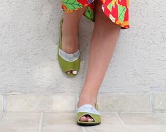 Summer Green Sandals, Women's Flat Leather Sandals, Summer Shoes, Apple Green Leather Sandals, Leather Flats, Peep Toe Sandals, Flat Shoes