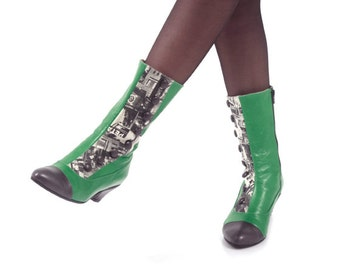 Zipper green boots for women leather boots designers shoes, Unique boots, Women's winter shoes, Low heels boots, Green and grey button boots