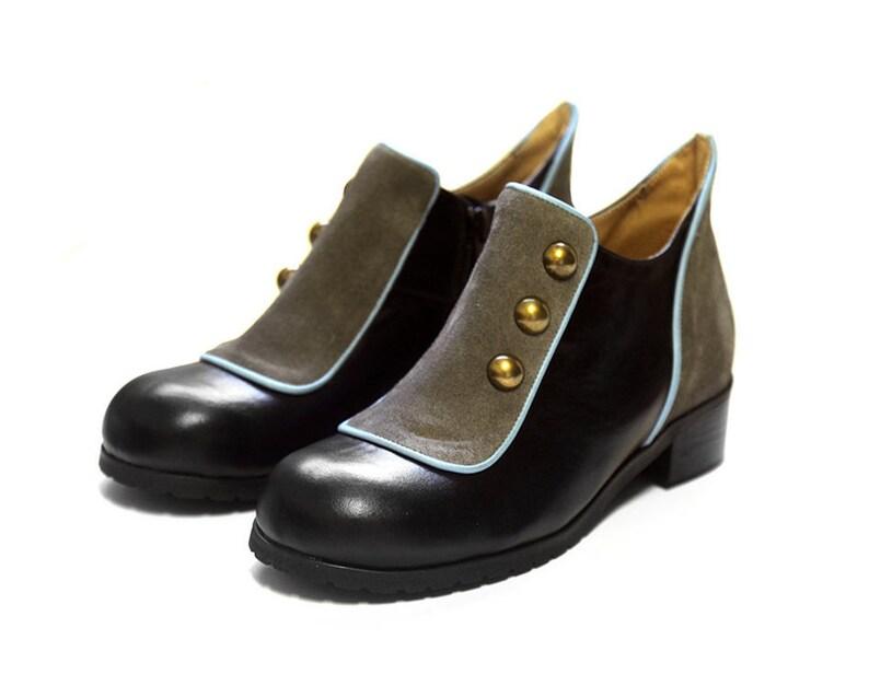 hot sale online 0269a 6967e Weinlese-Frauen Winterschuhe, schwarze flache kurze Stiefel, Leder-Schuhe,  schwarze Frauen Lederschuhe Schuhe, schwarzes Leder Booties, Knöpfe