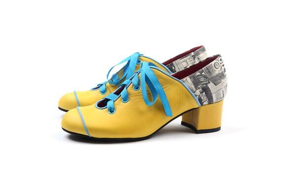 heels shoes Women's shoes leather blue pumps pumps shoes Yellow Yellow pumps modern leather Low Yellow Yellow and shoes pumps women w1ZqWAx8S