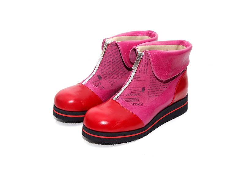 e399b4002f6 ed Winter Shoes, Pink Zipper Boots, Leather Ankle Boots, Comfort Sole  Boots, Red Women Boots, Women Flat Boots,