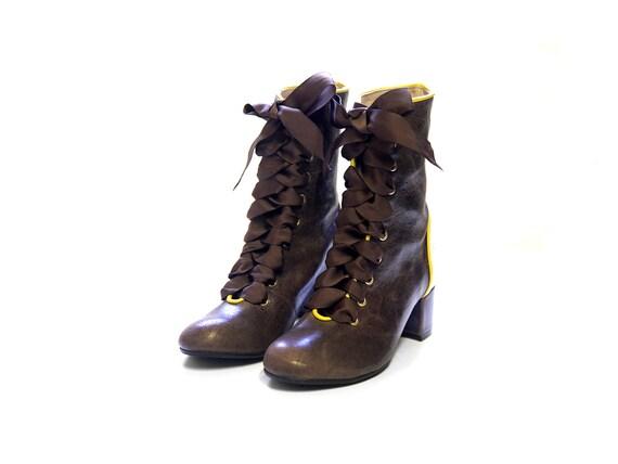 Braune Lederstiefel, einzigartige Leder Stiefel für Frauen, Komfort Spitze Stiefel Damenstiefel, Frauen braun Stiefel, alltäglichen Stiefel, Leder