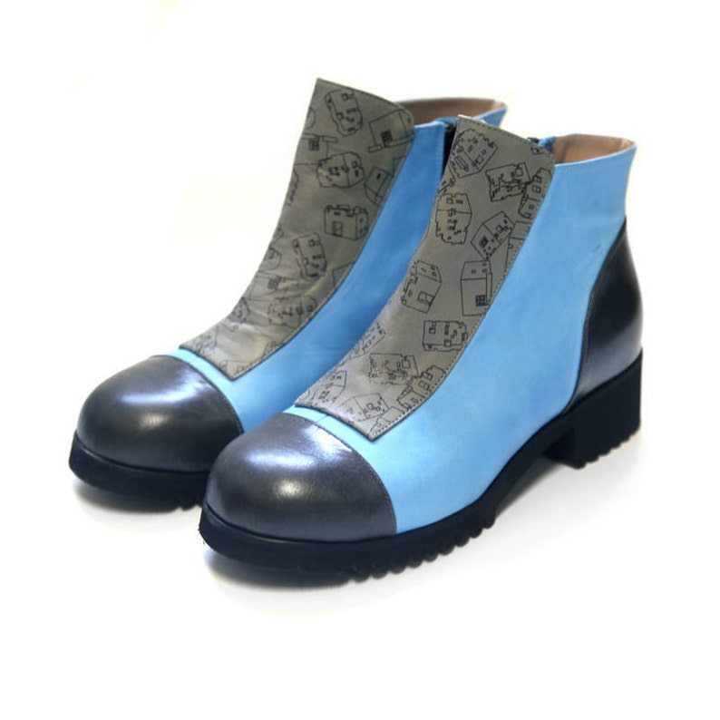 1ff0e117ddf7 Blue Boots Winter shoes Leather woman s shoes Gray
