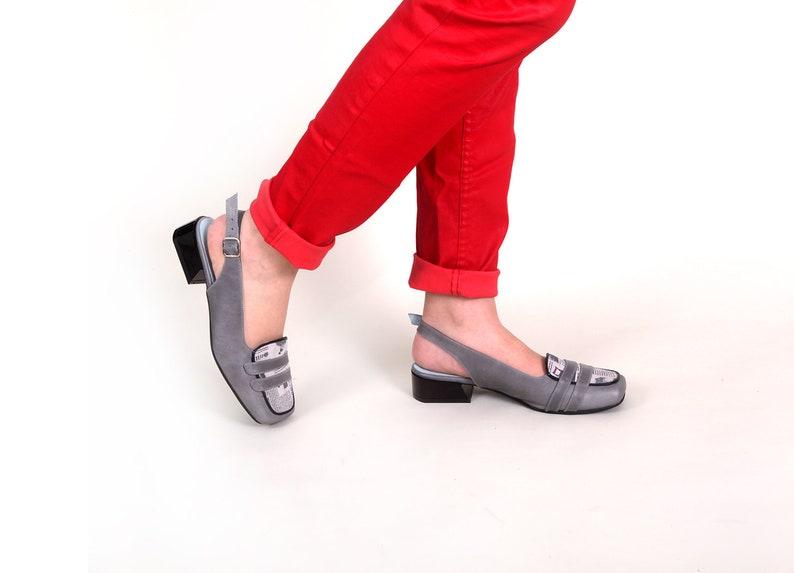 cf5e85085 Gray Leather Strap Sandals women Shoes Gray Slingbacks