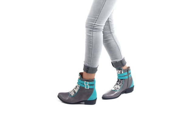 Turquoise Boots Booties Shoes Grey Ankle Women Grey Modern for SHIPING OFF 30 Leather FREE Boots Boots Women Winter OqB1Xz