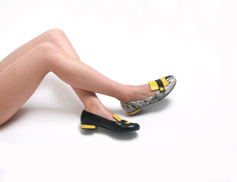d2c94035714df Yellow Black Leather Pumps Shoes for Womens Pumps, Flat Summer Shoes, Low  Heels Shoes for Her, Vintage Style Shoes, Spring Yellow Mary Janes