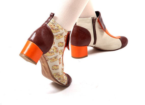 Boots women Shoes boots Brown boots Boots Leather Brown boots for Handmade Orange Winter Boots Orange Brown Orange Orange Women nOxp0wCfq