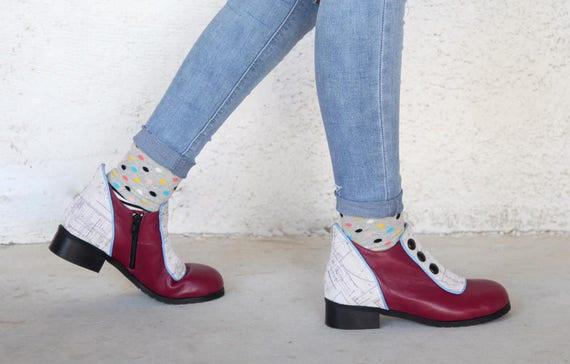 Flat Short Boots Women Leather Shoes