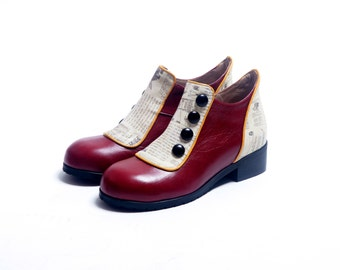 Burgundy Women Shoes, Flat Ankle Boots, Genuine Leather Shoes, Women Winter Leather Shoes, Red Leather Booties  Shoes, Marsala Shoes