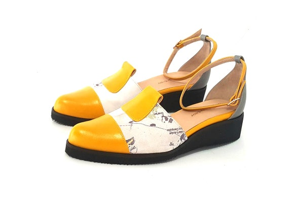 low shoes strap shoes Handmade Yellow designer for summer heels sandals Yellow Leather flats Mary janes mary color Janes Shoes shoes women's vqU4zv