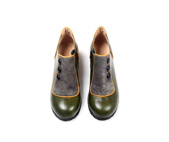 Women Leather Leather Shoes boots Green Short Women Dark Leather Shoes Shoes Booties Flat Green Genuine Winter Green Boots Vintage dqwHzd