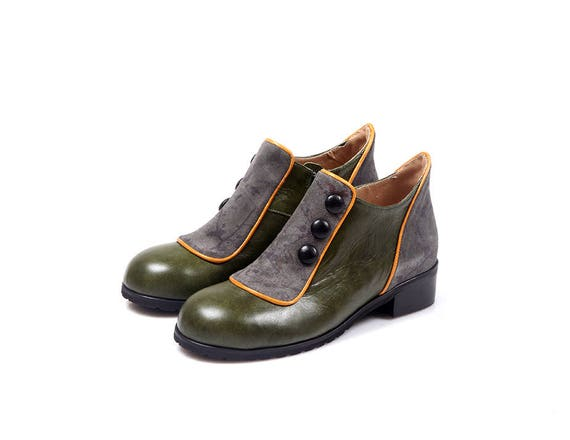 Winter Green Leather Genuine Women Leather Shoes Shoes Shoes Short Dark boots Women Vintage Boots Green Flat Leather Green Booties B167q5n1wS